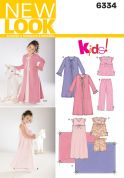 New Look Childrens Easy Sewing Pattern 6334 Nightgown, Pyjamas, Robe & Blanket