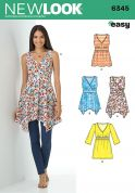 New Look Ladies Easy Sewing Pattern 6345 Fitted Waist Tunic Tops