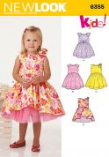 New Look Girls Sewing Pattern 6355 Party Dresses with Bow