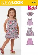 New Look Girls Sewing Pattern 6357 Frilled Dress, Top, Pants & Bolero