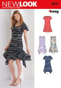 New Look Ladies Easy Sewing Pattern 6371 Asymmetric T Shirt Dresses