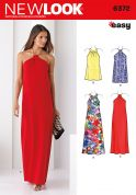 New Look Ladies Easy Sewing Pattern 6372 Halter Neck Dresses in 2 Styles & Lengths