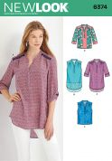 New Look Ladies Sewing Pattern 6374 Blouse Shirt Tops in 4 Styles