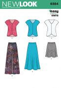 New Look Ladies Easy Sewing Pattern 6384 Jersey Knit Skirts & Tops