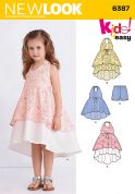 New Look Girls Easy Sewing Pattern 6387 Double Layer Hem Dresses & Shorts