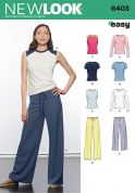 New Look Ladies Easy Sewing Pattern 6403 Tops, T Shirts & Pants