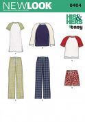 New Look Ladies & Mens Easy Sewing Pattern 6404 Pyjamas