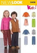 New Look Childrens Sewing Pattern 6408 Jacket, Waistcoat, Dress & Pants