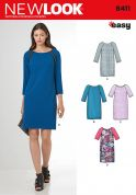 New Look Ladies Sewing Pattern 6411 Raglan Sleeve Shift Dresses