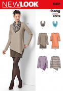 New Look Ladies Easy Sewing Pattern 6412 Jersey Knit Tops, Dresses & Scarves