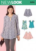 New Look Ladies Sewing Pattern 6414 Loose Fit Blouse Tops & Tunics