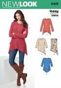 New Look Ladies Easy Sewing Pattern 6415 Jersey Knit Asymmetric Hemline Tops