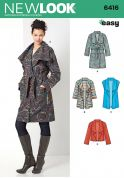 New Look Ladies Easy Sewing Pattern 6416 Draped Front Coat, Jackets & Waistcoat
