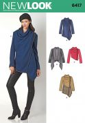 New Look Ladies Sewing Pattern 6417 Draped Asymmetric Cowl Jackets