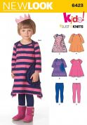 New Look Girls Easy Sewing Pattern 6423 Jersey Knit Dresses & Leggings