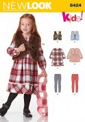 New Look Girls Sewing Pattern 6423 Dresses, Waistcoats & Leggings
