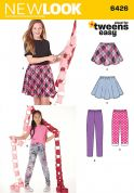 New Look Girls Easy Sewing Pattern 6426 Full Circle Skirts & Leggings