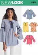 New Look Ladies Sewing Pattern 6432 Blouse Tops in 4 Styles