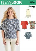 New Look Ladies Easy Sewing Pattern 6434 Simple Tops in 4 Styles
