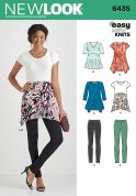New Look Ladies Easy Sewing Pattern 6435 Just for Knits Tunic Tops & Leggings