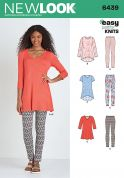 New Look Ladies Easy Sewing Pattern 6439 Just for Knits Tunic Tops & Leggings