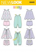 New Look Baby Sewing Pattern 6440 Romper, Sundress & Panties