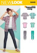 New Look Girls Easy Sewing Pattern 6445 Kimono, Tops & Leggings