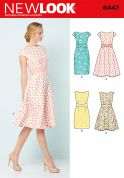 New Look Ladies Sewing Pattern 6447 Dresses in 4 Styles with Waist Detail