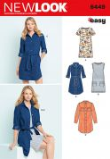 New Look Ladies Easy Sewing Pattern 6449 Shirt Dress & Knit Dress