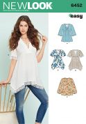 New Look Ladies Easy Sewing Pattern 6452 Tops with Bodice & Hemline Variations