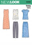 New Look Ladies Easy Sewing Pattern 6458 Knit Pants, Top, Skirt & Dress