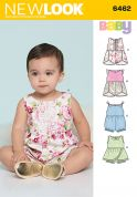 New Look Baby Easy Sewing Pattern 6462 Rompers with Trim Variations