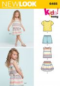 New Look Girls Easy Sewing Pattern 6465 Top, Skirt & Shorts