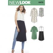 New Look Ladies Sewing Pattern 6470 Shirt Dress & Shirt Style Tunic Tops