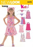 New Look Childrens Easy Sewing Pattern 6478 Dresses & Head Scarf