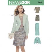 New Look Ladies Sewing Pattern 6481 Knit Top, Skirt, Pants & Jacket Suit