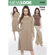New Look Ladies Easy Sewing Pattern 6482 Jersey Knit Dress, Tunic, Pants & Jacket