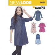 New Look Girls Sewing Pattern 6487 Shirt Dresses & Tie Belt