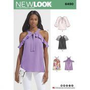 New Look Ladies Sewing Pattern 6490 Blouse Tops With Sleeve Variations