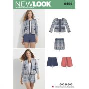 New Look Ladies Sewing Pattern 6496 Jacket, Skort, Shorts & Skirt