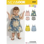 New Look Baby Sewing Pattern 6501 Dress & Romper