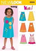 New Look Childrens Easy Sewing Pattern 6504 Dresses with Applique