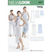 New Look Ladies Easy Sewing Pattern 6517 Dress, Tunic, Top, Pants & Scarf