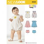 New Look Baby Easy Sewing Pattern 6520 Romper, Dress & Panties