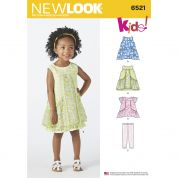 New Look Girls Easy Sewing Pattern 6521 Dress, Tunic Top & Pants