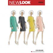 New Look Ladies Sewing Pattern 6524 Dresses with Sleeve Variations