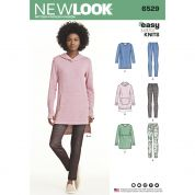 New Look Ladies Easy Sewing Pattern 6529 Jersey Knit Tunics & Leggings
