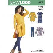 New Look Ladies Easy Sewing Pattern 6533 Babydoll Tops & Leggings