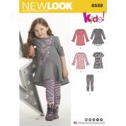 New Look Kids Easy Sewing Pattern 6538 Jersey Knit Leggings & Dresses