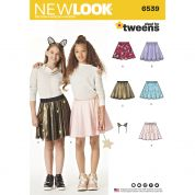 New Look Teenagers Easy Sewing Pattern 6539 Skirts & Bunny Ears Headband